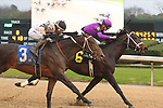 February 17, 2020: Warrior's Charge (6) with jockey Florent Geroux fighting off Bankit (3) with jockey Ricardo Santana Jr. before crossing the finish line in the the Razorback Handicap at Oaklawn Racing Casino Resort in Hot Springs, Arkansas on February 17, 2020. Justin Manning/Eclipse Sportswire/CSM