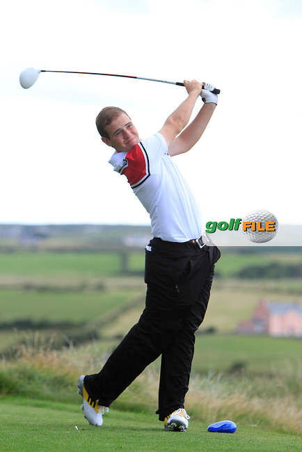 Declan Reidy (Co. Sligo) on the 9th tee during the South of Ireland Amateur Open Championship First Round at Lahinch Golf Club  27th July 2013 <br /> Picture:  Thos Caffrey / www.golffile.ie