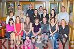 Margaret McSweeney, Castleisland who celebrated her 70th birthday with her family in the River Island Hotel, Castleisland on Friday night front row l-r: Aoife O'Leary, Laoise McSweeney, Michelle McSweeney. Middle row: Marguerite Ford, Eileen, Abina , Margaret, Danny and Trish McSweeney. Back row: Margaret nolan, Shane Turner, Philis Mitchell, Paul White, Ann Mitchell, Denis Ford, Liz McSweeney, Catriona White and Mike McSweeney......