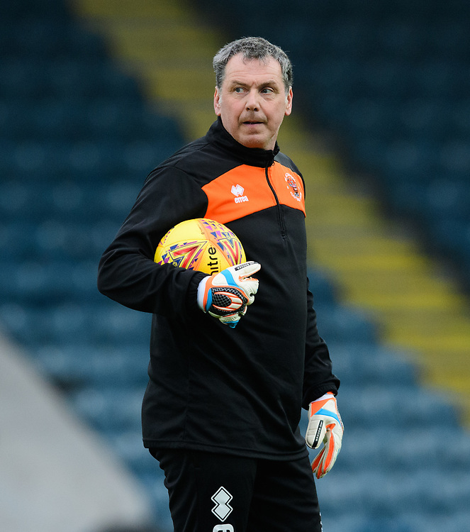 Blackpool's goalkeeping coach Dave Timmins during the pre-match warm-up<br /> <br /> Photographer Chris Vaughan/CameraSport<br /> <br /> The EFL Sky Bet League One - Rochdale v Blackpool - Wednesday 26th December 2018 - Spotland Stadium - Rochdale<br /> <br /> World Copyright © 2018 CameraSport. All rights reserved. 43 Linden Ave. Countesthorpe. Leicester. England. LE8 5PG - Tel: +44 (0) 116 277 4147 - admin@camerasport.com - www.camerasport.com