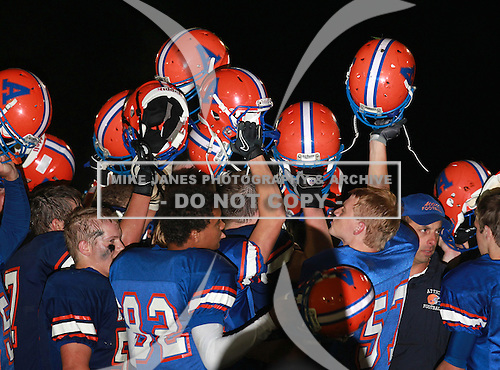 Holley Hawks varsity football against the Attica Blue Devils during week three of the Genesee Region League season at Attica Central School on September 17, 2010 in Attica, New York.  (Copyright Mike Janes Photography)