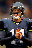 Oct. 23, 2005; Seattle, WA, USA; Quarterback (11) David Greene of the Seattle Seahawks against the Dallas Cowboys at Qwest Field. Mandatory Credit: Mark J. Rebilas