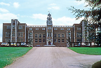 Hertfordshire: Hatfield House, 1607-1611, built by Robert Cecil, Earl of Salisbury and Chief Minister to James I.  North elevation (front). Photo '90.