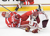 Nick Ennis (BU - 9), Pat Morris (BC - 8) - The Boston College Eagles defeated the visiting Boston University Terriers 6-2 in ACHA play on Sunday, December 4, 2011, at Kelley Rink in Conte Forum in Chestnut Hill, Massachusetts.