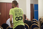 Grassroots Out T shirt. UKIP EU referendum press conference, London.