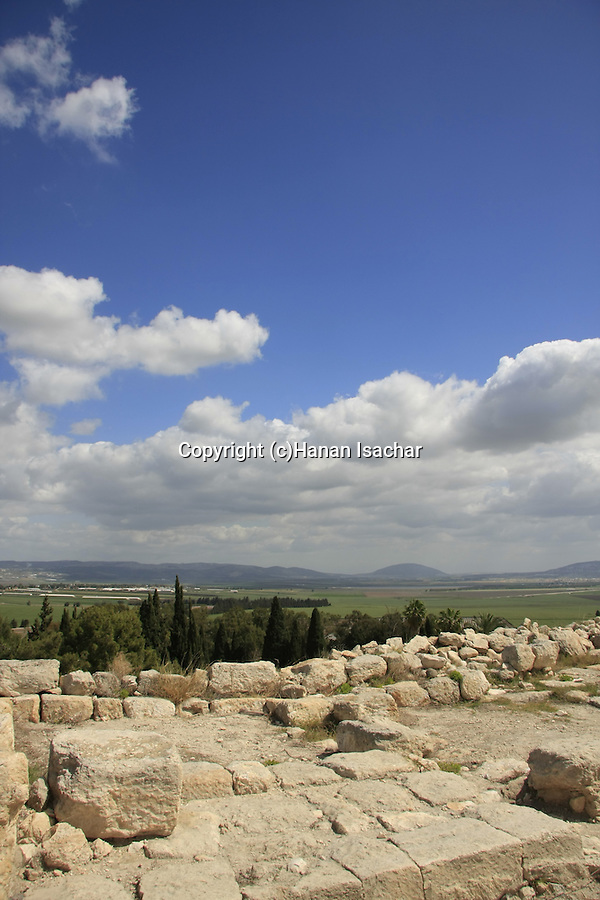 Israel, Jezreel valley. Tel Megiddo overlooking Jezreel valley, a World Heritage Site