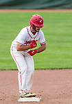 MIDDLETOWN, CT. 06 June 2018-060618BS577 - Wolcott's Nicolas Longo (1) reacts from second base after hitting for a double during the CIAC Tournament Class M Semi-Final baseball game between Ledyard and Wolcott at Palmer Field on Wednesday afternoon. Wolcott beat Ledyard 9-4 and advances to the Class M final this weekend. Bill Shettle Republican-American