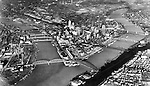 Pittsburgh PA - View of the city and the three rivers from an airplane - 1933