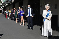 London, UK - 30 July 2020<br /> Madame Tussauds most popular figures 'queue' outside the attraction to celebrate the reopening to the public this Saturday 1st August of one of London's most notable tourist attractions.  (L-R) Dwayne Johnson, Victoria and David Beckham, Beyoncé,  Eddie Redmayne, Donald Trump, Meghan Duchess of Sussex and Prince Harry,Taylor Swift, Boris Johnson, The Queen<br /> <br /> <br /> CAP/JOR<br /> ©JOR/Capital Pictures