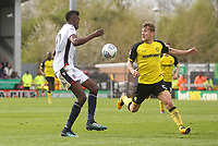 Bolton Wanderers Sammy Ameobi in action with Bolton Wanderers Mark Beevers<br /> <br /> Photographer Mick Walker/CameraSport<br /> <br /> The EFL Sky Bet Championship - Burton Albion v Bolton Wanderers - Saturday 28th April 2018 - Pirelli Stadium - Burton upon Trent<br /> <br /> World Copyright &copy; 2018 CameraSport. All rights reserved. 43 Linden Ave. Countesthorpe. Leicester. England. LE8 5PG - Tel: +44 (0) 116 277 4147 - admin@camerasport.com - www.camerasport.com