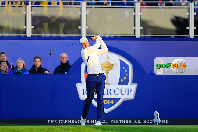 Henrik Stenson (EUR) during the Saturday morning Fourballs of the 2014 Ryder Cup at Gleneagles. The 40th Ryder Cup is being played over the PGA Centenary Course at The Gleneagles Hotel, Perthshire from 26th to 28th September 2014.: Picture Eoin Clarke, www.golffile.ie / www.golftouri,ages.com: \27/09/2014\