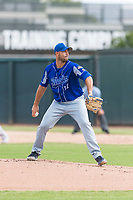 Team Italy starting pitcher Alessandro Maestri (17) delivers a pitch during an exhibition game against the Oakland Athletics at Lew Wolff Training Complex on October 3, 2018 in Mesa, Arizona. (Zachary Lucy/Four Seam Images)