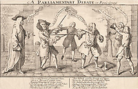 BNPS.co.uk (01202 558833)<br /> Pic: AmberleyBooks/BNPS<br /> <br /> Horatio Walpole and fellow MP Richard Chetwynd duel<br /> <br /> Historian Eugene Wolfe has charted the history of discord in British politics over the past 400 years in his new book, Parliamentary Violence in the United Kingdom.<br /> <br /> He has listed over 800 incidents were tensions have got out of hand, with some leading to sword duels between MPs and brawls on the floor.<br /> <br /> One former prime minister, William Pitt, even challenged a political rival to a gun duel on Putney Heath.