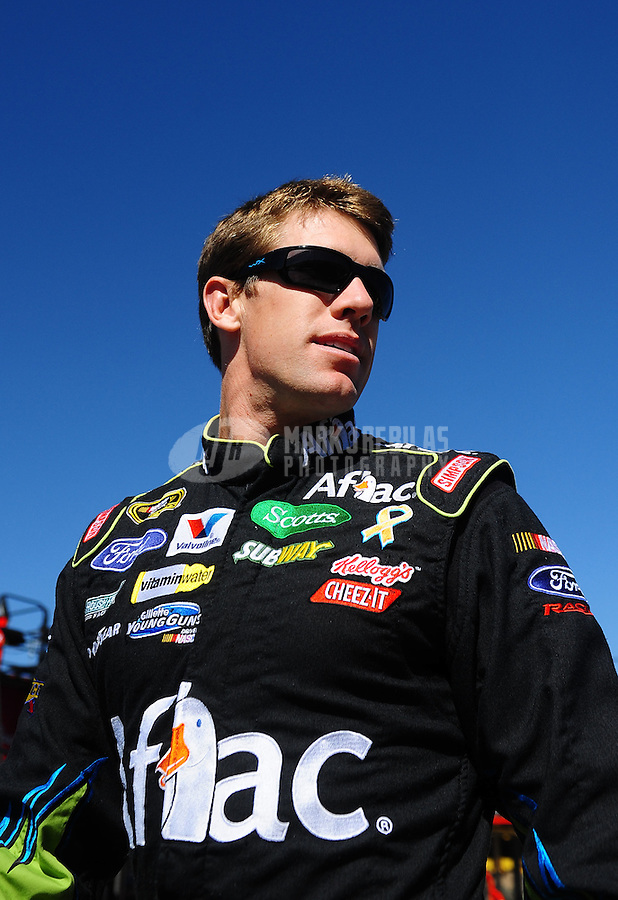 Oct. 1, 2010; Kansas City, KS, USA; NASCAR Sprint Cup Series driver Carl Edwards during practice for the Price Chopper 400 at Kansas Speedway. Mandatory Credit: Mark J. Rebilas-