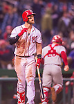 28 April 2016: Washington Nationals outfielder Bryce Harper in action against the Philadelphia Phillies at Nationals Park in Washington, DC. The Phillies shut out the Nationals 3-0 to sweep their mid-week, 3-game series. Mandatory Credit: Ed Wolfstein Photo *** RAW (NEF) Image File Available ***
