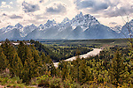 The Teton Mountain Range soars above the Snake River in Grand Teton National Park, just outside Jackson Hole, Wyoming.