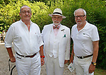 Washington, CT- 081217MK10 (from left) Ronald Weitendorf, Bernie Mc Manus and Ray Kelly gathered at the 20th annual Tea for Two Hundred at the home of Gael Hammer and Gary Goodwin in Washington Saturday afternoon. Event proceeds will benefit Gunn Historical Museum and Interfaith AIDS Ministry of Greater Danbury. Michael Kabelka / Republican-American