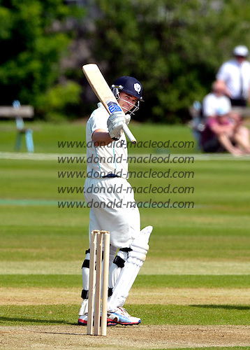 Cricket - Scotland V Kenya - Intercontinental Cup Day 1 - Aberdeen - Scotland bat Richie Berrington signals his 50 before going on to make 62 - picture by Donald MacLeod - 07.07.13 – 07702 319 738 – clanmacleod@btinternet.com – www.donald-macleod.com