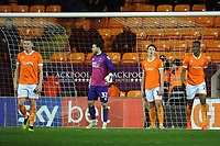 Blackpool's Taylor Moore, Chris Maxwell, Matty Virtue and Armand Gnanduillet look dejected after Gillingham's Brandon Hanlan (not in picture) scores his side's third goal <br /> <br /> Photographer Kevin Barnes/CameraSport<br /> <br /> The EFL Sky Bet League One - Blackpool v Gillingham - Tuesday 11th February 2020 - Bloomfield Road - Blackpool<br /> <br /> World Copyright © 2020 CameraSport. All rights reserved. 43 Linden Ave. Countesthorpe. Leicester. England. LE8 5PG - Tel: +44 (0) 116 277 4147 - admin@camerasport.com - www.camerasport.com