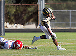 Palos Verdes, CA 10/09/15 - Julius Lagmay (Peninsula #35) and Corey Louis (Morningside #21) in action during the Morningside - Peninsula varsity football game.  Morning side defeated Peninsula 24-21.