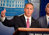 Acting Director, United States Immigration and Customs Enforcement (ICE) Matthew Albence briefs reporters in the Brady Briefing Room of the White House in Washington, DC on Thursday, October 10, 2019.<br /> Credit: Ron Sachs / CNP