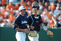 Starting pitcher Kent Emanuel #41 and Catcher Jacob Stallings # 5 of the North Carolina Tar Heels share a laugh during  a game against the Clemson Tigers at Doug Kingsmore Stadium on March 9, 2012 in Clemson, South Carolina. The Tar Heels defeated the Tigers 4-3. Tony Farlow/Four Seam Images.