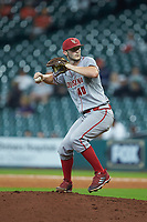 Louisiana Ragin' Cajuns relief pitcher Dylan Moore (40) in action against the Kentucky Wildcats in game seven of the 2018 Shriners Hospitals for Children College Classic at Minute Maid Park on March 4, 2018 in Houston, Texas.  The Wildcats defeated the Ragin' Cajuns 10-4. (Brian Westerholt/Four Seam Images)