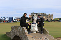 Lucas Bjerregaard (DEN) and his caddy Johnathon Smart on the Swilken bridge after winning the Alfred Dunhill Links Championship at Old Course St. Andrew's, Fife, Scotland. 07/10/2018.<br /> Picture Thos Caffrey / Golffile.ie<br /> <br /> All photo usage must carry mandatory copyright credit (&copy; Golffile | Thos Caffrey)