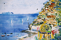 Europe/Italie/Côte Amalfitaine/Campagnie/Positano : Détail peinture du comptoir d'un bar sur le font de mer représentant le village