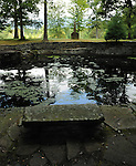 A view of the Shallow Pool at the Opus 40 environmental Sculpture Garden created by Harvey Fite in an abandoned Blue Stone Quarry in High Woods area of Saugerties, NY, photographed on Friday, August 26, 2011. Photo by Jim Peppler. Copyright Jim Peppler/2011.
