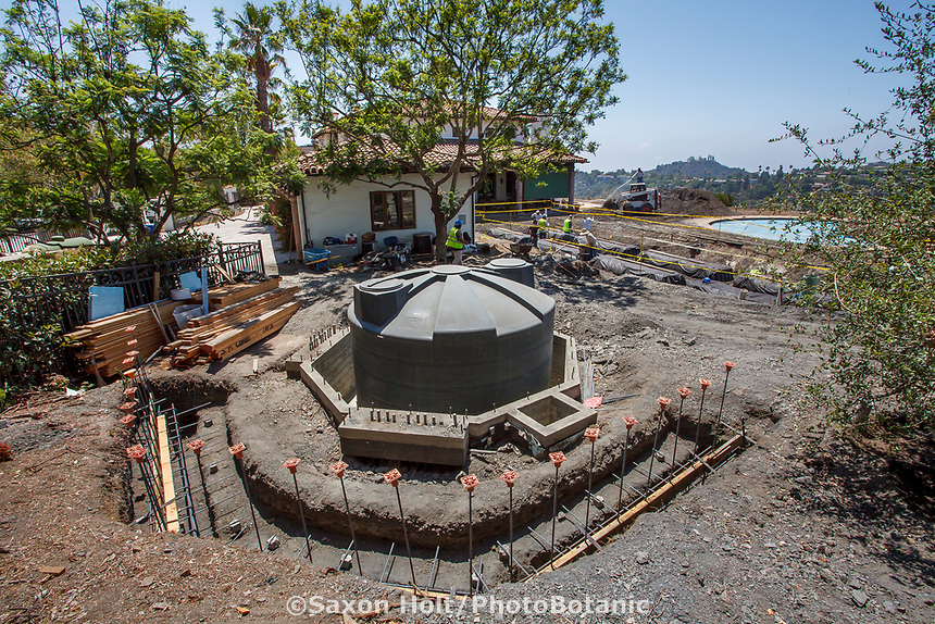 Planning for water capture under a new garden pergola by installing cistern first in a water conserving Southern California garden