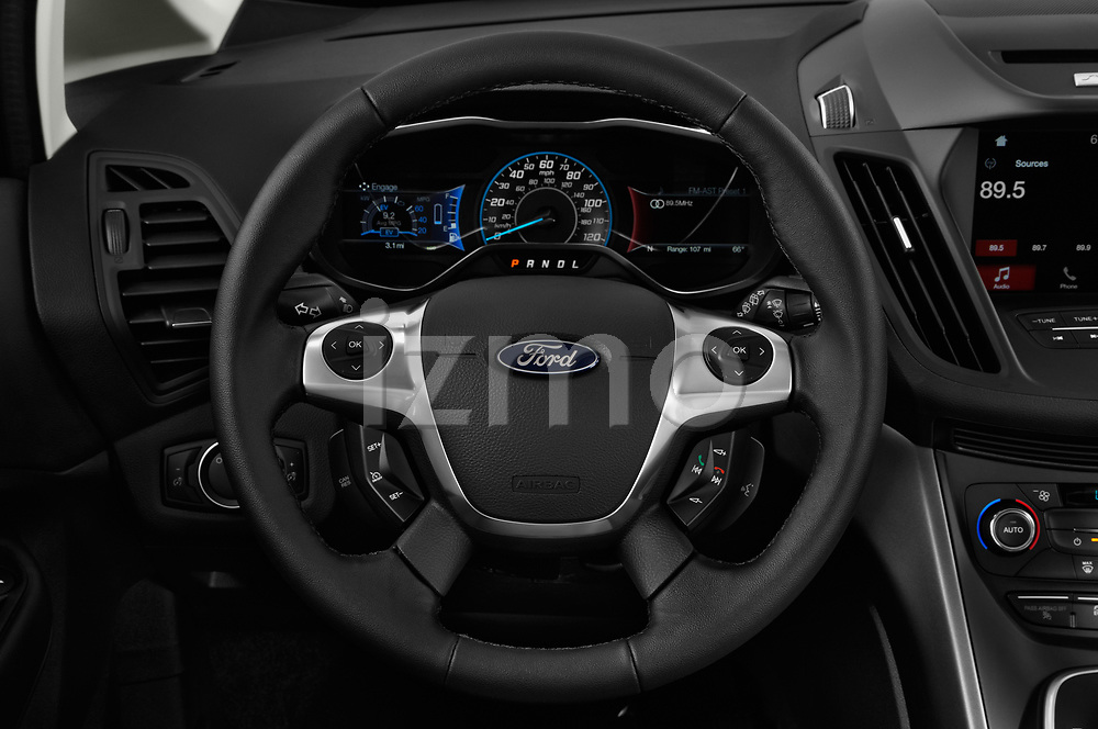 Car pictures of steering wheel view of a 2017 Ford C-Max PHEV SE 5 Door Mini Van