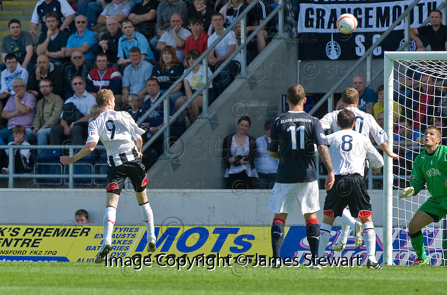 07/08/2010   Copyright  Pic : James Stewart.sct_jsp002_falkirk_v_dunfermline  .::  PAT CLARKE HEADS HOME THE FIRST FOR DUNFERMLINE ::  .James Stewart Photography 19 Carronlea Drive, Falkirk. FK2 8DN      Vat Reg No. 607 6932 25.Telephone      : +44 (0)1324 570291 .Mobile              : +44 (0)7721 416997.E-mail  :  jim@jspa.co.uk.If you require further information then contact Jim Stewart on any of the numbers above.........