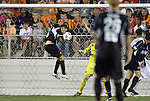 29 May 2012: Carolina's Brian Shriver (left) scores the game-winning goal in the 88th minute. The Carolina RailHawks (NASL) defeated the Los Angeles Galaxy (MLS) 2-1 at WakeMed Soccer Stadium in Cary, NC in a 2012 Lamar Hunt U.S. Open Cup third round game.