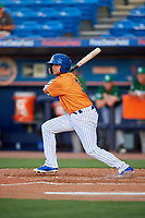 St. Lucie Mets second baseman Blake Tiberi (3) lines out during a game against the Daytona Tortugas on August 3, 2018 at First Data Field in Port St. Lucie, Florida.  Daytona defeated St. Lucie 3-2.  (Mike Janes/Four Seam Images)