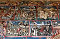 Romania,Moldavia Region,Southern Bucovina,Voronets Monastery,Church of St. George,Frescos,wall paintings,biblical scenes
