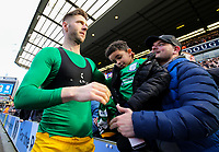 Preston North End's Paul Gallagher gives his shirt to a young fan after the match<br /> <br /> Photographer Alex Dodd/CameraSport<br /> <br /> The EFL Sky Bet Championship - Blackburn Rovers v Preston North End - Saturday 9th March 2019 - Ewood Park - Blackburn<br /> <br /> World Copyright © 2019 CameraSport. All rights reserved. 43 Linden Ave. Countesthorpe. Leicester. England. LE8 5PG - Tel: +44 (0) 116 277 4147 - admin@camerasport.com - www.camerasport.com