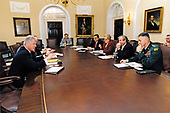 United States President Bill Clinton meets with his National Security Team in the Cabinet Room of the White House in Washington, DC on <br /> April 7,1999.  From left to right: President Clinton; Steve Ricchetti, Senior Advisor to the President; General Donald Kerrick, Deputy Assistant to the President for National Security Affairs;  George Tenet, Director, Central Intelligence Agency;  US Secretary of State Madeleine Albright; National Security Advisor Samuel Berger;  and the Chairman of the Joint Chiefs of Staff US Army General Hugh Shelton, <br /> Mandatory Credit: Ralph Alswang / White House via CNP