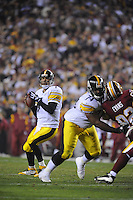 03 November 2008:  Steelers QB Ben Roethlisberger (7) passes behind a block from T Willie Colon (74).  The Pittsburgh Steelers defeated the Washington Redskins 23-6 on Monday Night Football at FedEx Field in Landover, MD.