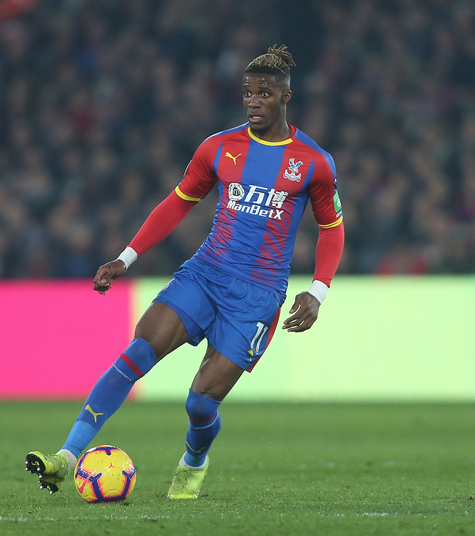 Crystal Palace's Wilfried Zaha<br /> <br /> Photographer Rob Newell/CameraSport<br /> <br /> The Premier League - Wednesday 27th February 2019  - Crystal Palace v Manchester United - Selhurst Park - London<br /> <br /> World Copyright © 2019 CameraSport. All rights reserved. 43 Linden Ave. Countesthorpe. Leicester. England. LE8 5PG - Tel: +44 (0) 116 277 4147 - admin@camerasport.com - www.camerasport.com