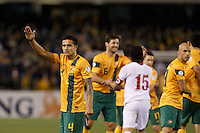 MELBOURNE, 11 JUNE 2013 - Tim CAHILL of Australia blows a kiss to the crowd after winning their Round 4 FIFA 2014 World Cup qualifier match between Australia and Jordan at Etihad Stadium, Melbourne, Australia. Photo Sydney Low for Zumapress Inc. Please visit zumapress.com for editorial licensing. *This image is NOT FOR SALE via this web site.