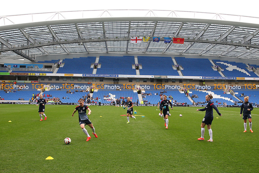England players warm up ahead of kick-off - England Women vs Montenegro Women - FIFA Womens World Cup 2015 Qualifying Group 6 Football at The Amex, Falmer Stadium, Brighton & Hove Albion FC - 05/04/14 - MANDATORY CREDIT: Gavin Ellis/TGSPHOTO - Self billing applies where appropriate - 0845 094 6026 - contact@tgsphoto.co.uk - NO UNPAID USE