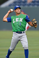 Shortstop Angelo Castellano (1) of the Lexington Legends warms up before a game against the Greenville Drive on Friday, June 30, 2017, at Fluor Field at the West End in Greenville, South Carolina. Lexington won, 17-7. (Tom Priddy/Four Seam Images)