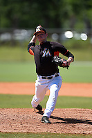 Miami Marlins pitcher Matt Milroy (19) during a minor league spring training game against the New York Mets on March 30, 2015 at the Roger Dean Complex in Jupiter, Florida.  (Mike Janes/Four Seam Images)