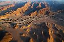 Namibia;  Namib Desert, Skeleton Coast,  aerial view of Hoanib River valley, habitat for desert elephants