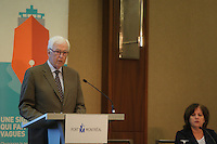 Montreal, CANADA. May 12, 2015.<br /> <br /> Michel M. Lessard, Chairman of the Board, and Sylvie Vachon, President and Chief Executive Officer, attend the <br /> Montreal Port Authority Annual General Meeting, May 12, 2015.<br /> <br /> PHOTO : Pierre Roussel - Agence Quebec Presse