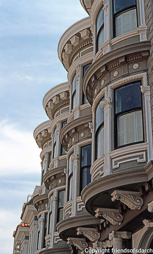 San Francisco: House, Sacramento St. Detail--bay windows.  Photo '78.