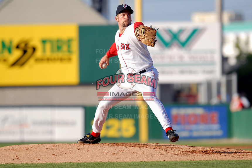 Boston Red Sox RHP John Smoltz in a rehab appearance with the Pawtucket Red Sox, the AAA International League affiliate of the Red Sox,at McCoy Stadium in Pawtucket,RI on June 6, 2009 (Photo by Ken Babbitt/Four Seam Images)