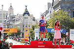 3rd place Roxane Fournier (FRA) FDJ Nouvelle Aquitaine-Futuroscope on the podium at the end of the Madrid Challenge by La Vuelta 2017, ridden over 87km 15 laps on a 5.8km route around the iconic Plaza Cibeles, Madrid, Spain. 10th September 2017.<br /> Picture: Unipublic/&copy;photogomezsport | Cyclefile<br /> <br /> <br /> All photos usage must carry mandatory copyright credit (&copy; Cyclefile | Unipublic/&copy;photogomezsport)