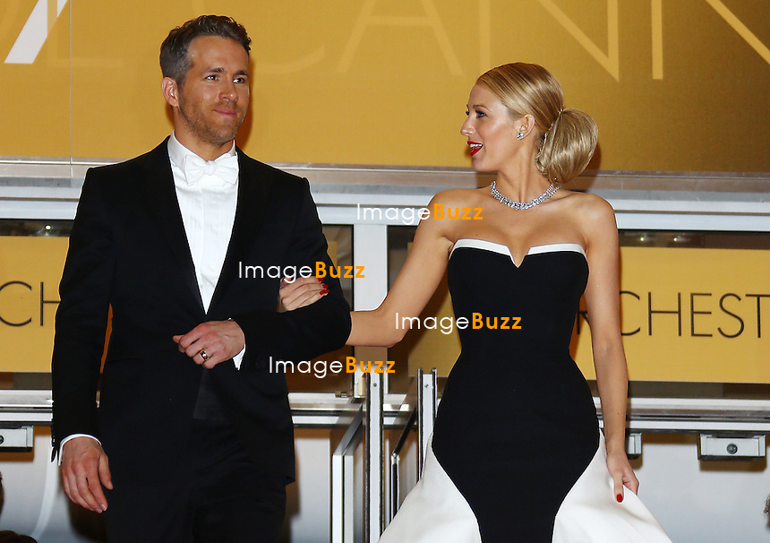 Blake Lively and Ryan Reynolds Leaving the Palais des Festivals after the 'Captives' premiere during the 67th Annual Cannes Film Festival<br /> France, Cannes, May 16, 2014.